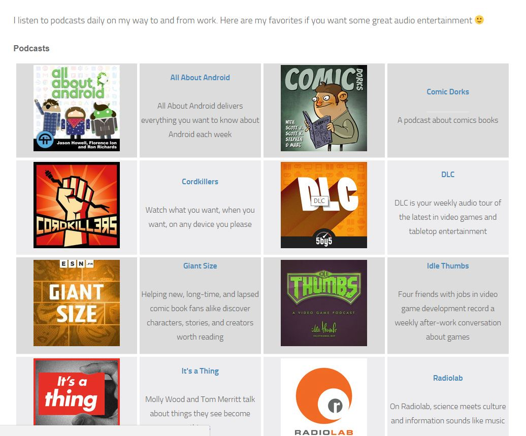 A second sample output showing a list of links with RSS feed icons and RSS preview link.