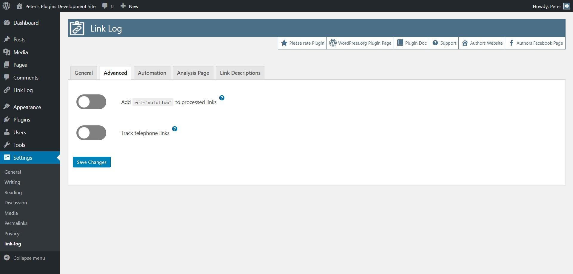 本文に挿入した外部リンクのクリック数を計測できるようにするプラグイン「link-log – external link click monitor」の画像|Knowledge Base