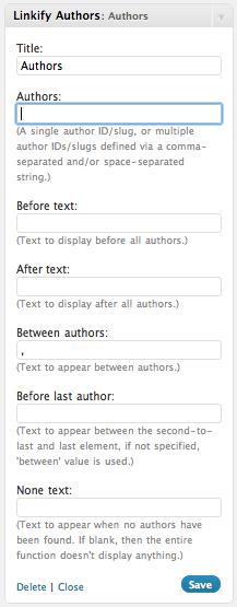 The plugin's widget configuration.