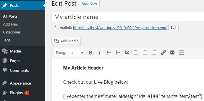 Paste the shortcode where you want it to appear in your article