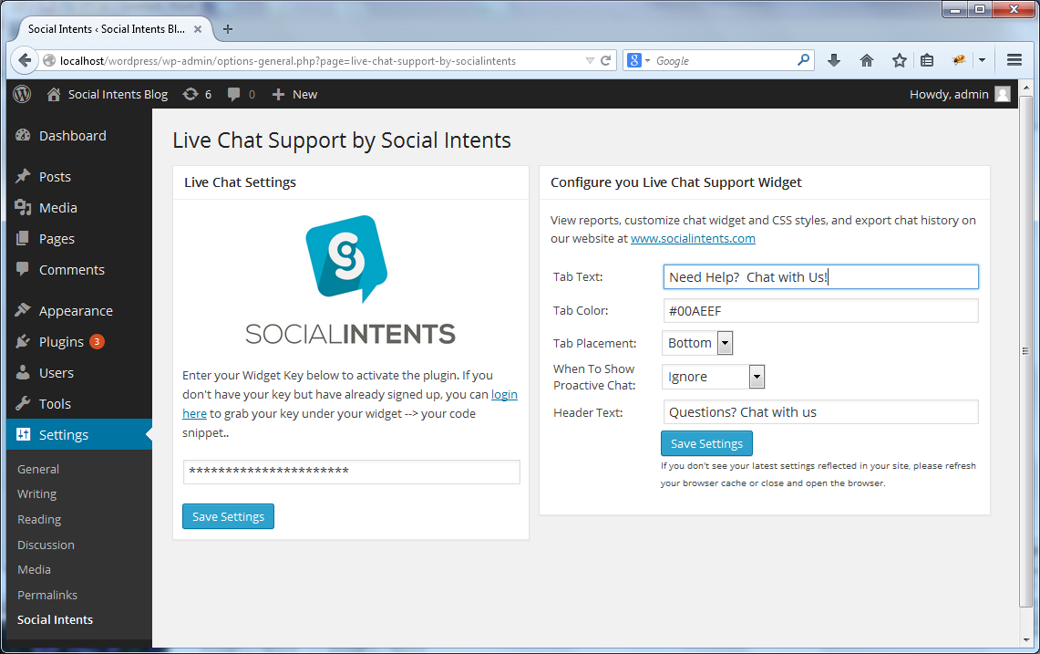 Live Chat Support Settings