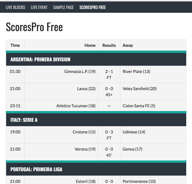 Live Scores for SportsPress – WordPress plugin | WordPress org