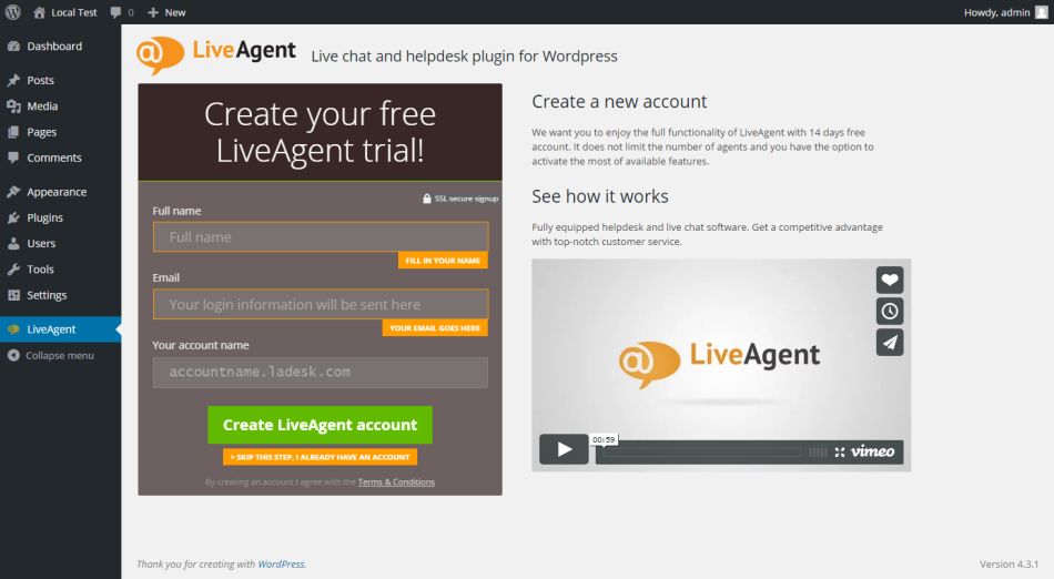 LiveAgent Wordpress Ticketing System