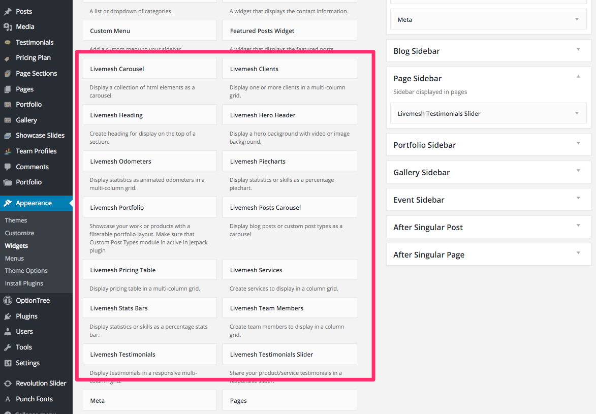 Livemesh SiteOrigin widgets in the Appearance > Widgets page.