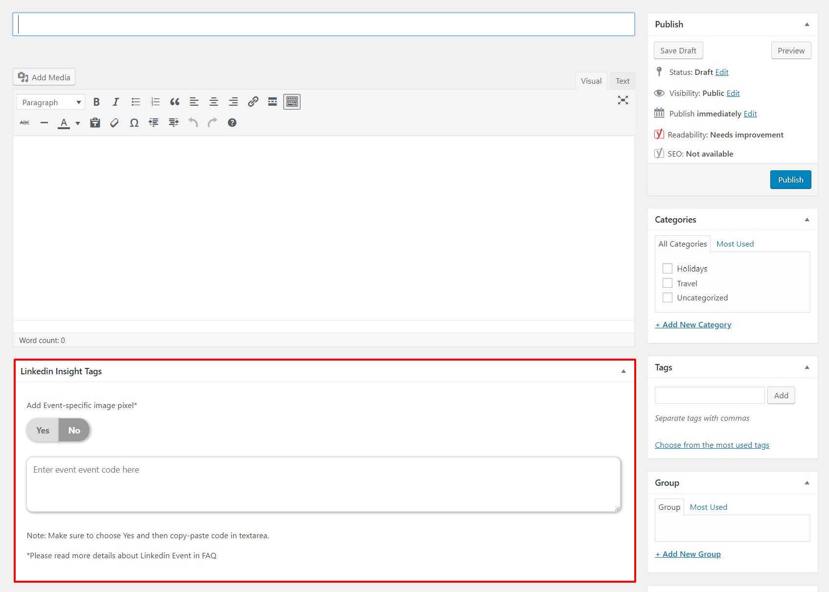 Lktags - Linkedin Insight Tags Settings Page