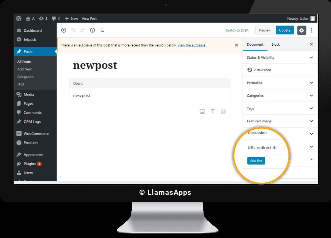 Quick button in Admin Post Editor