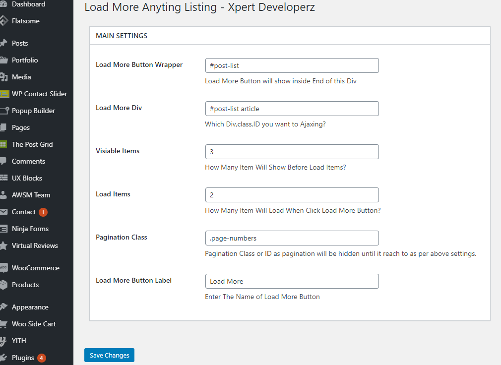 Settings Option Page Backend