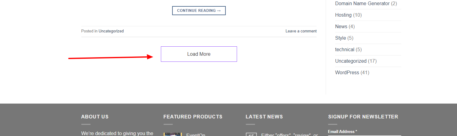 Front-End View of Load More Button
