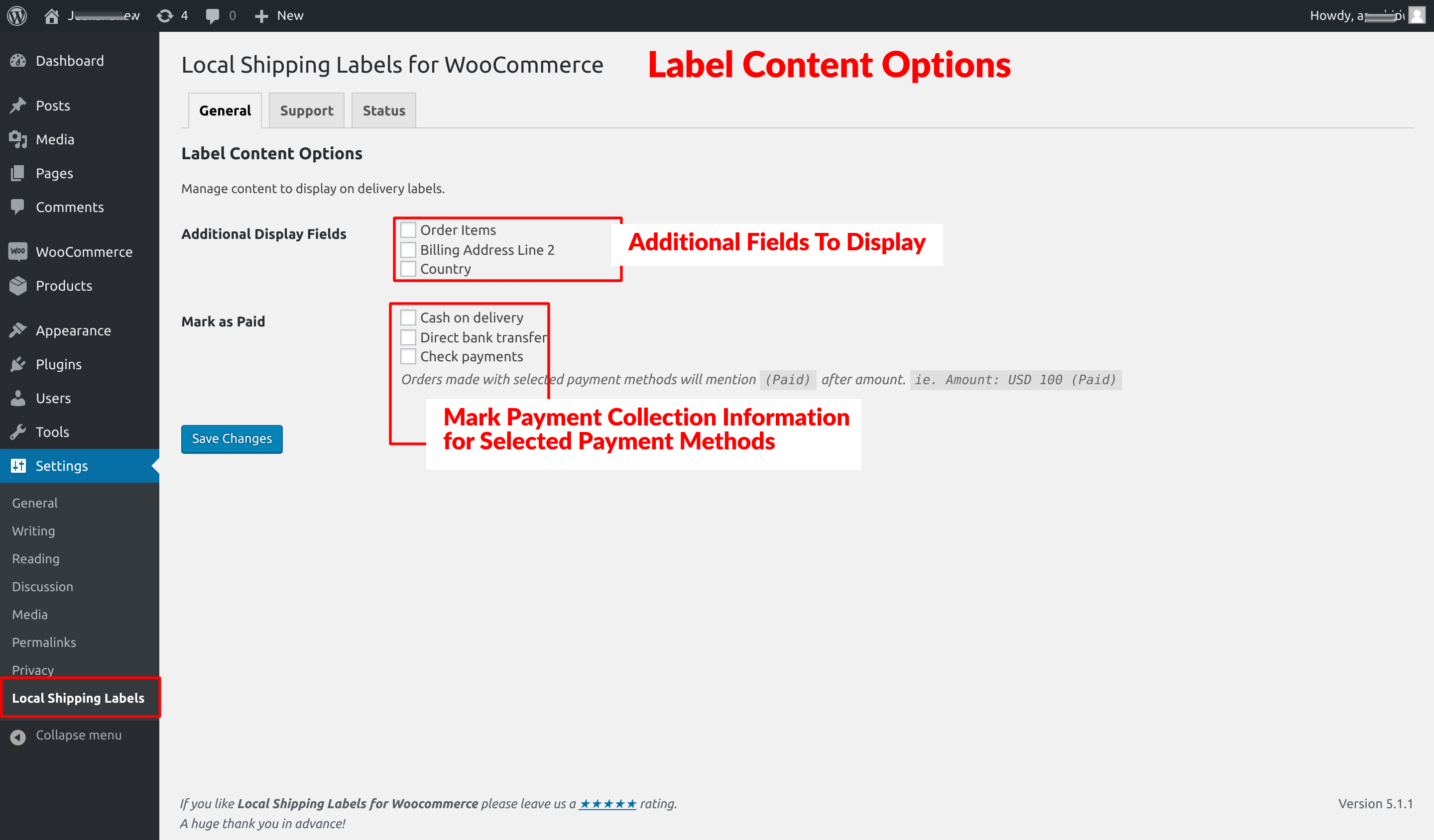 Label content options.