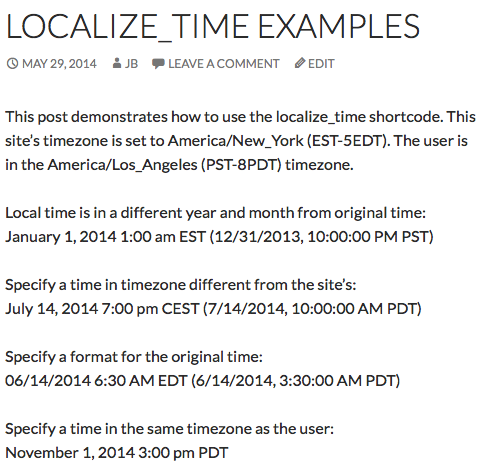 What the shortcode displays in the US Pacific timezone.