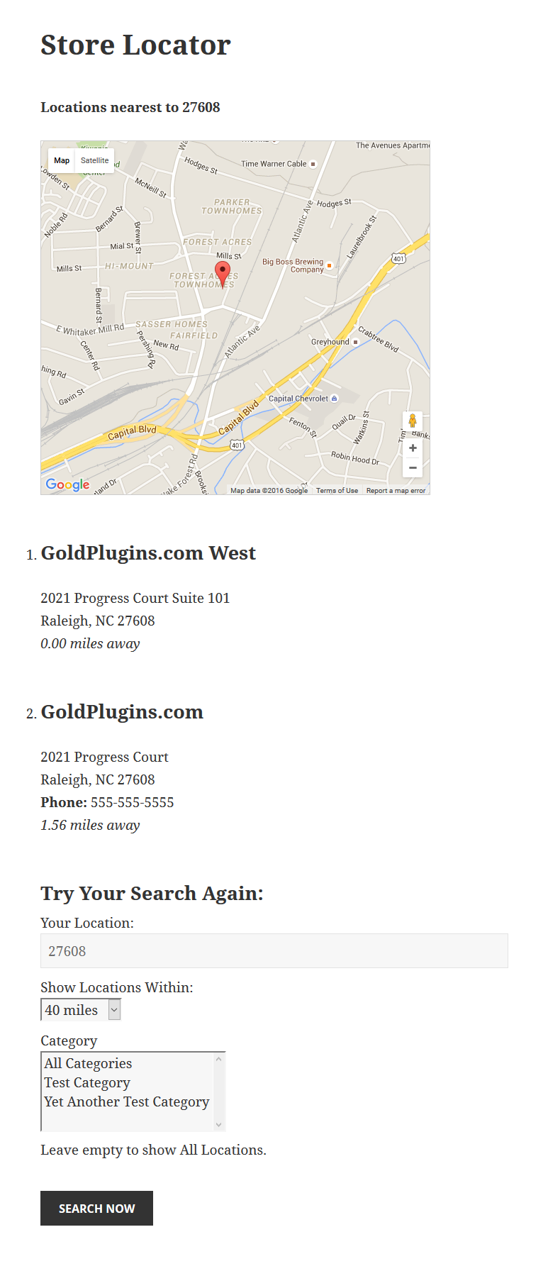 This is a demo of the Store Locator with search results.