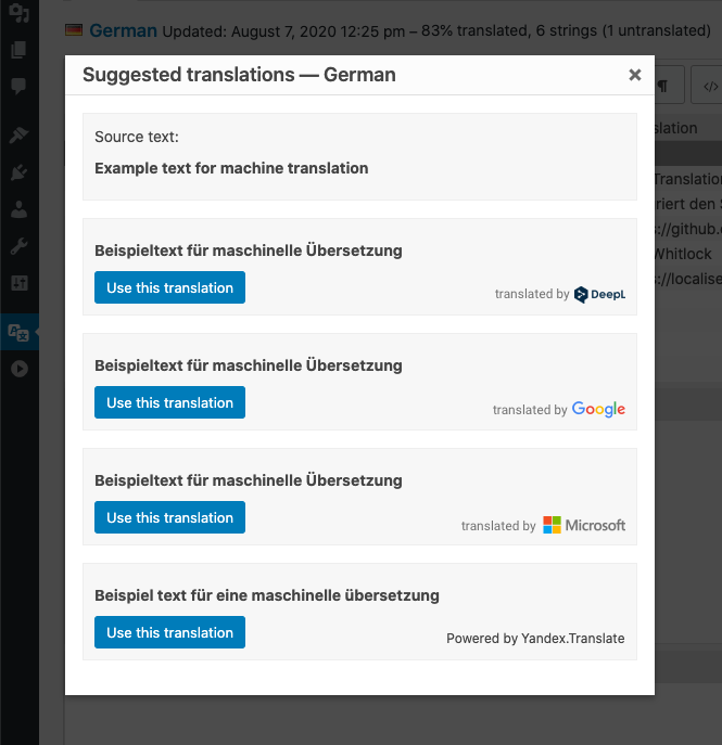Suggestion feature showing results from several providers