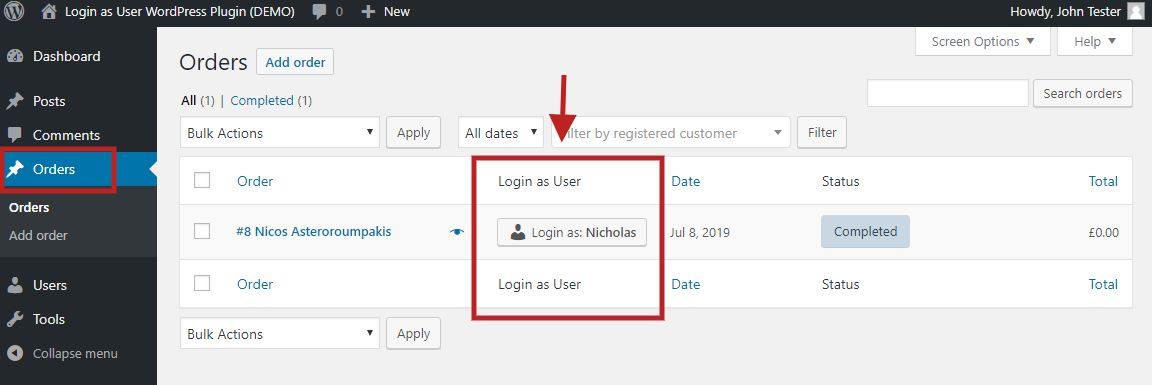 "The ""Login as User"" button as it displayed in the WooCommerce orders page, at the right of each order."