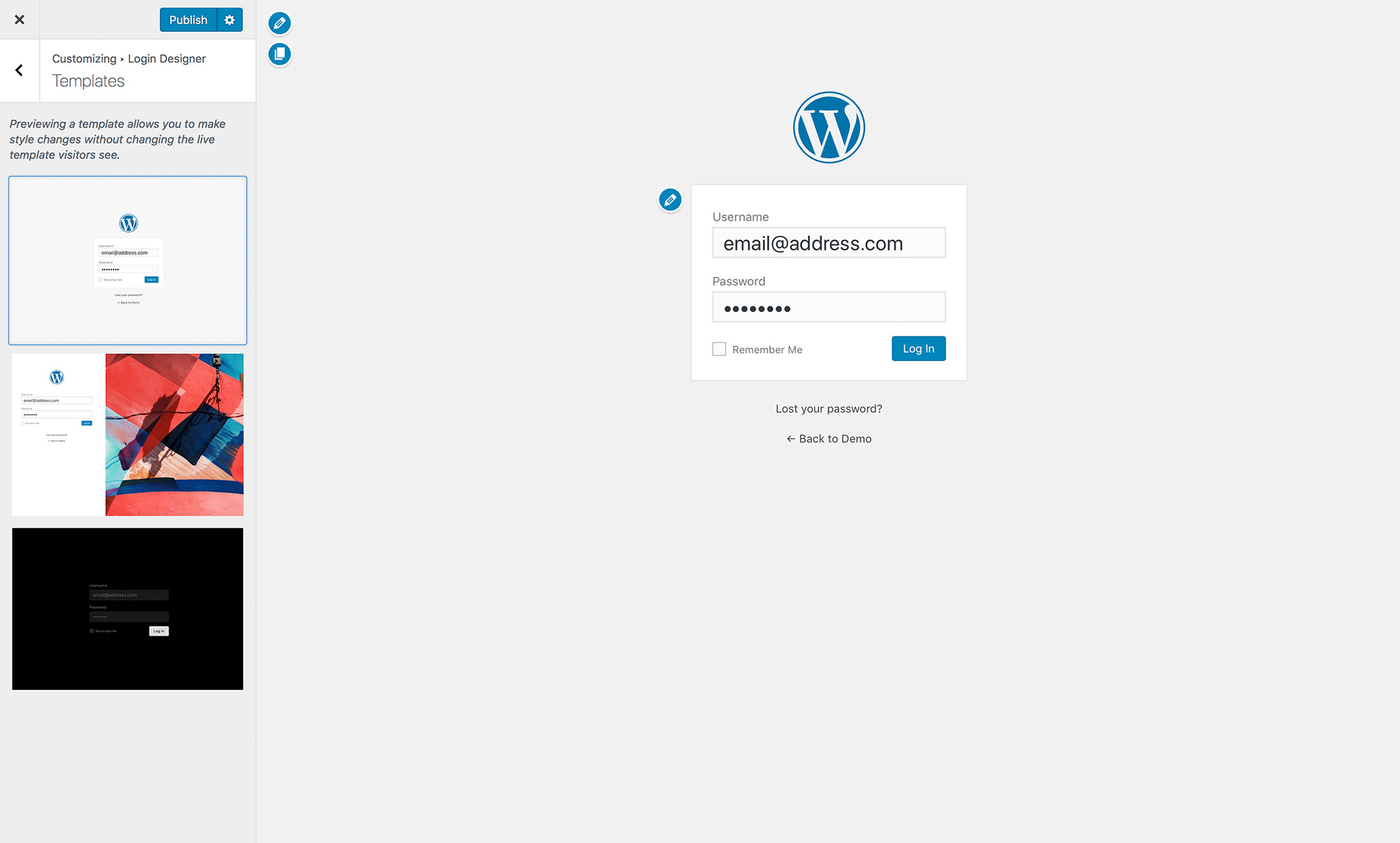custom login page customizer login designer wordpress org