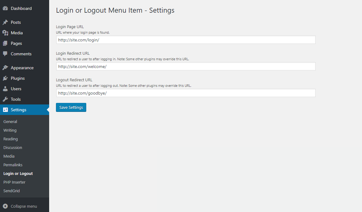 Login or Logout Menu Item