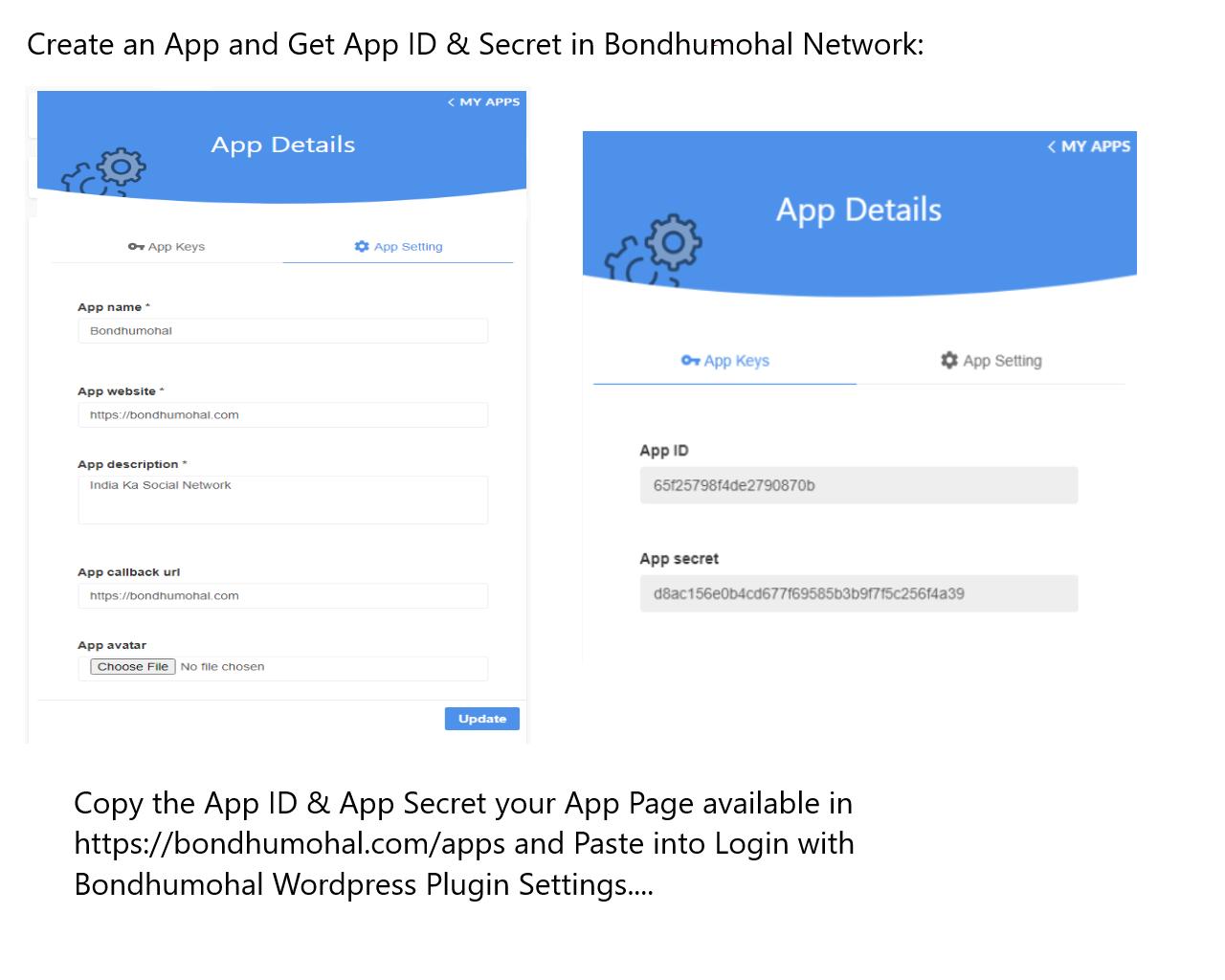 screenshot-1.png How get Bondhumohal App ID & Secret also how to edit app via https://bondhumohal.com/app/*