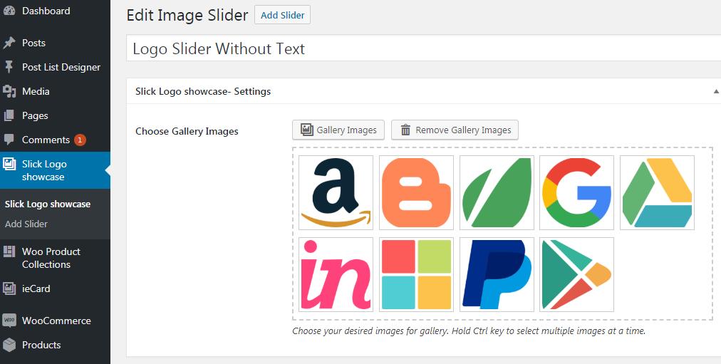 Admin view - Logos gallery