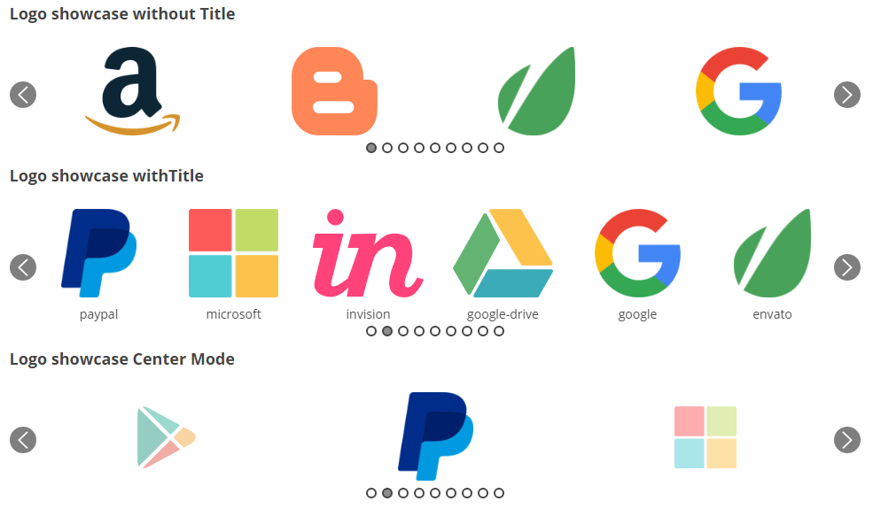 Logoshowcase with all options