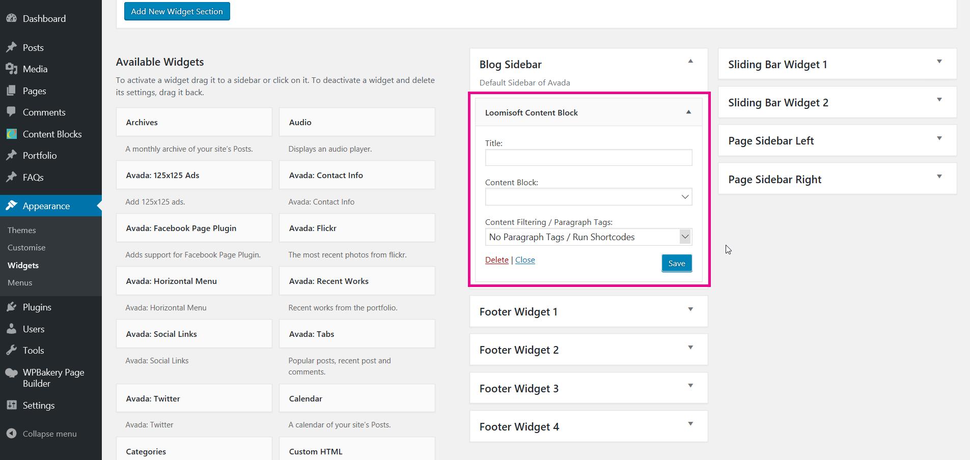 Blank Content Block Widget