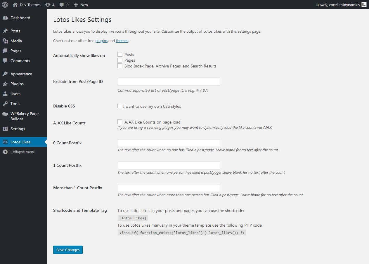 Screenshot of option page of Lotos Likes