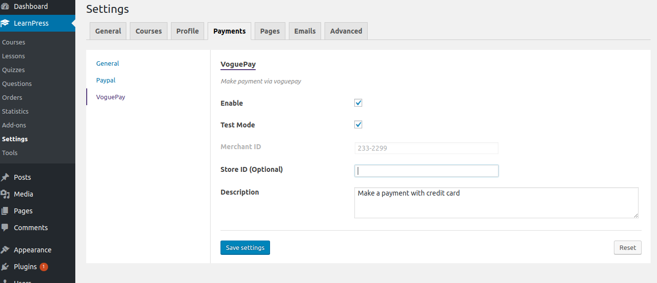 Configuration page for voguepay
