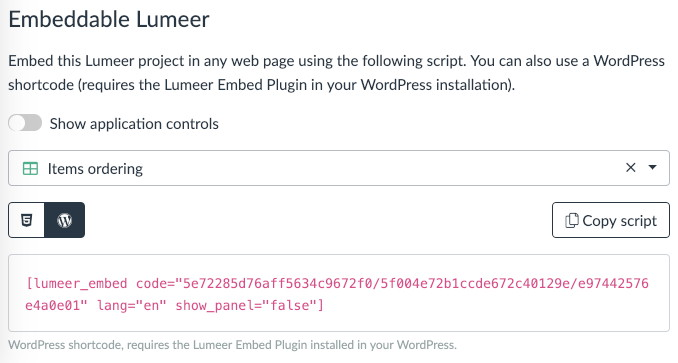 WordPress shortcode generated in the project settings in Lumeer