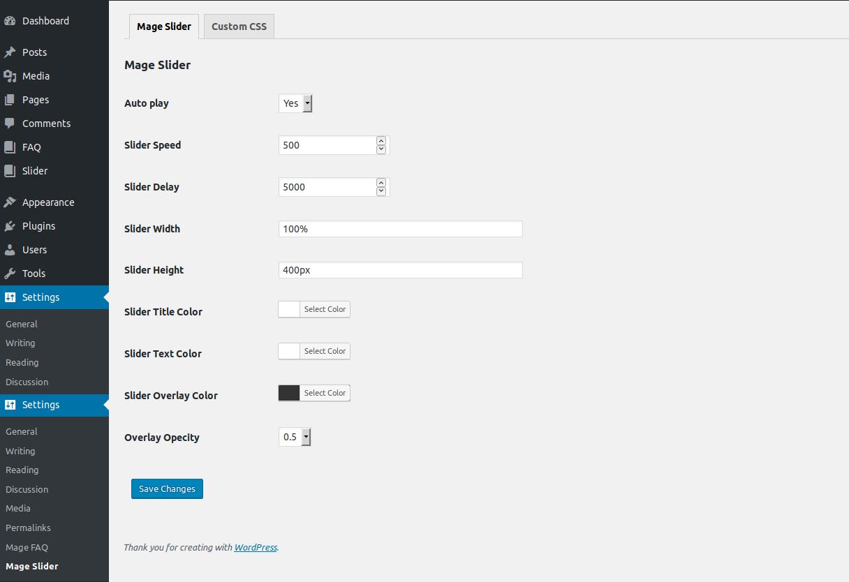 Mage Slider Admin Setting Page.