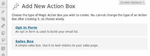 Select Action Box Type