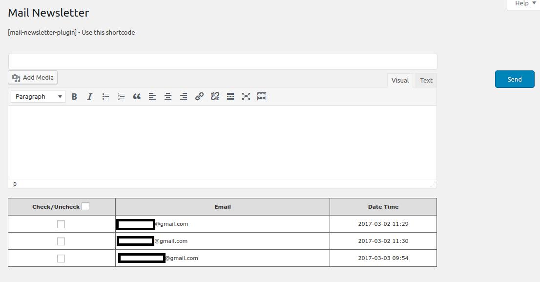 Admin back end to send email newsletter screenshot.