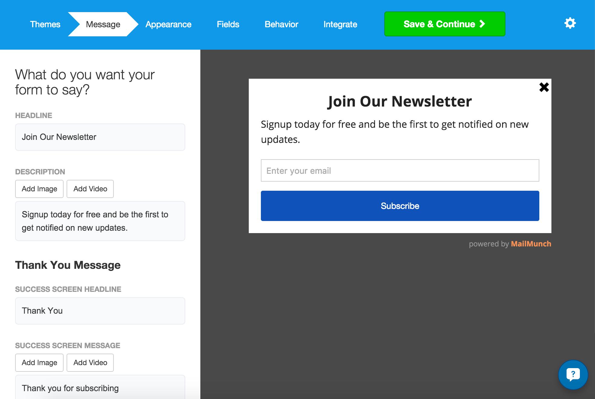MailChimp Forms by MailMunch WordPress Mailchimp plugin