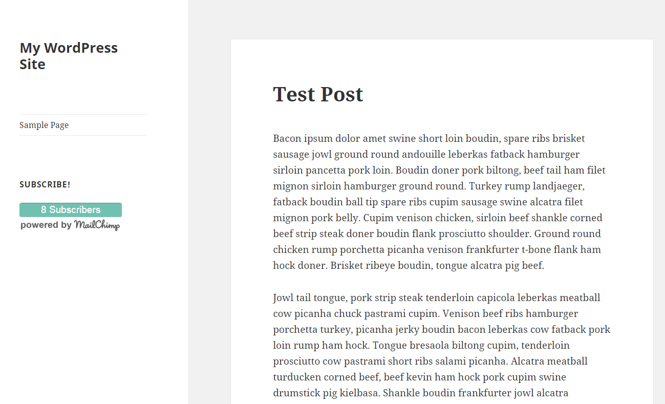 Chiclet used in the WordPress Text Widget in a Sidebar.