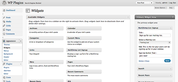 Select your Widget Options.