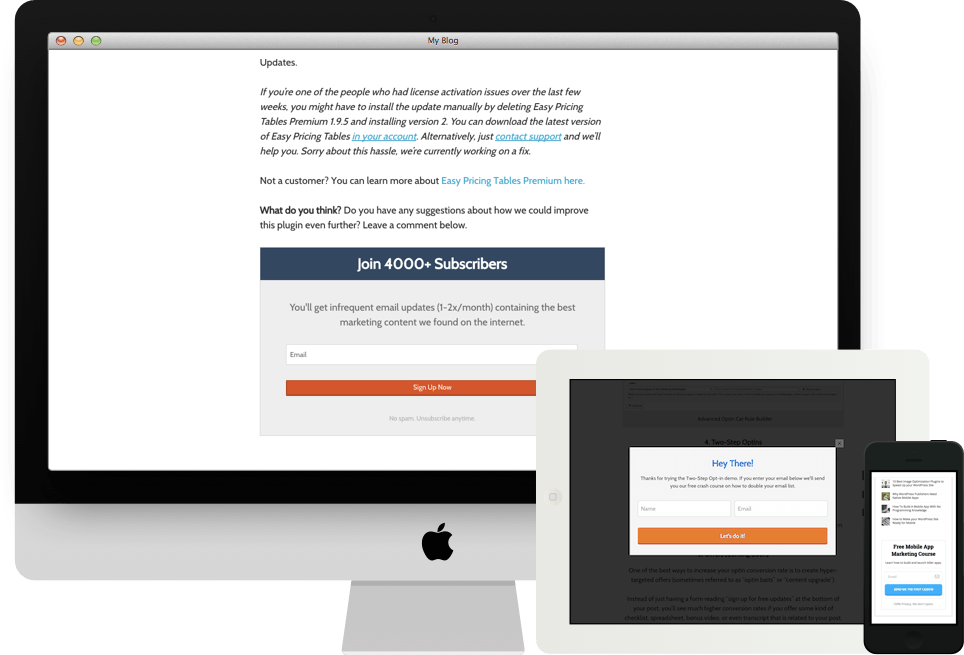 MailChimp Forms by Optin Cat WordPres plugin