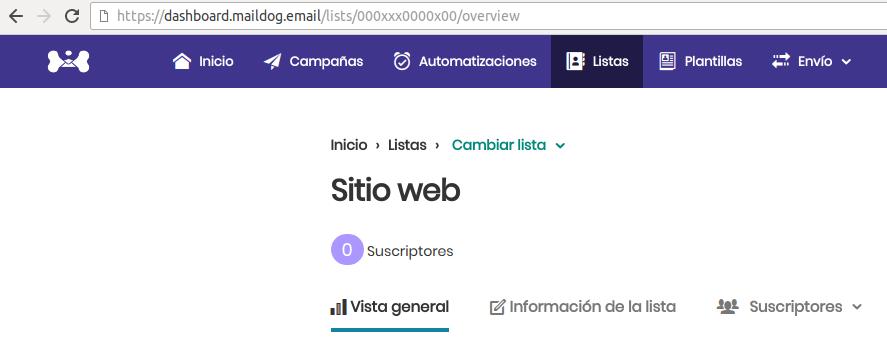 """Vaya a su panel de administración de Maildog y haga clic en el menú """"listas"""", luego seleccione la lista en la que desea importar los datos del formulario. una vez allí Verifique la URL, después de https://dashboard.maildog.email/lists/xxxxxxxx/. verá un código en el lugar de estas xxxxxxx, este es el ID de su lista, cópielo y péguelo en el campo """"ID de lista"""" de WordPress."""