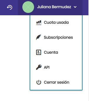 """Ahora, necesitas la API token, en tu panel de control de correo electrónico ve al menú superior derecho y haz clic en la opción """"API""""."""