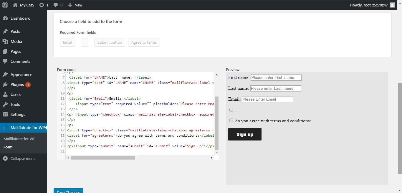 Save custom html form.