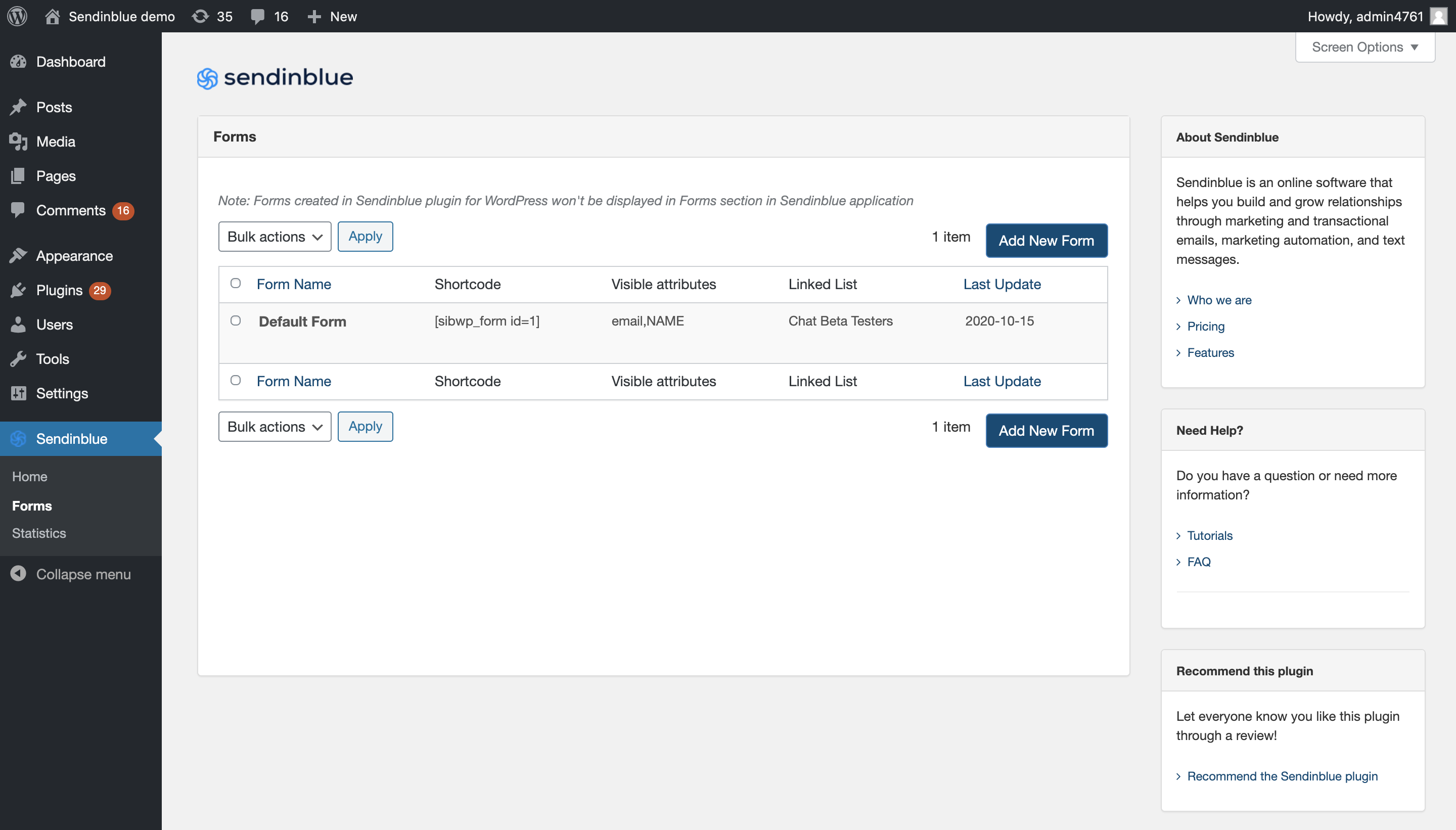 The Forms page gives you access to your forms list