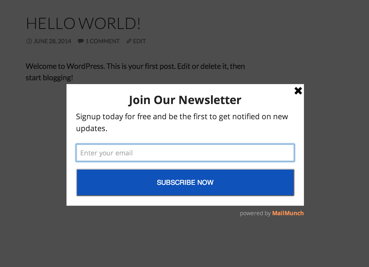 And finally, we have the optin form working live on your blog - increasing your subscribers :)
