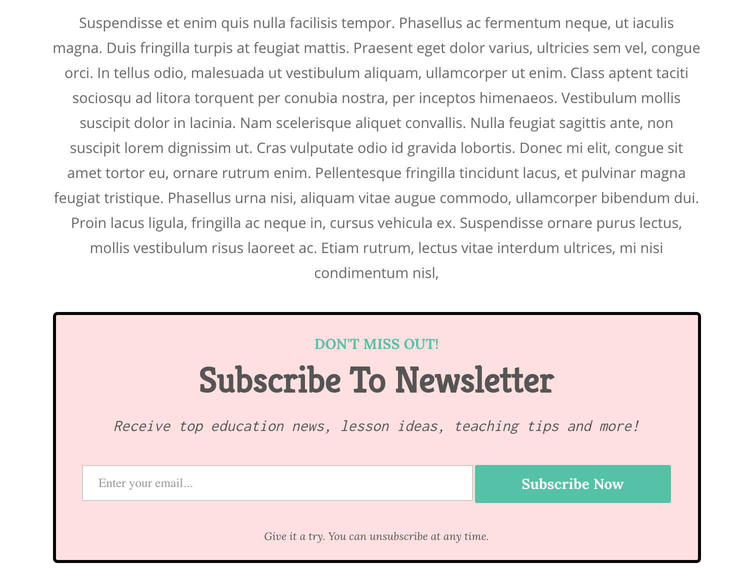 Tablet optimized email newsletter
