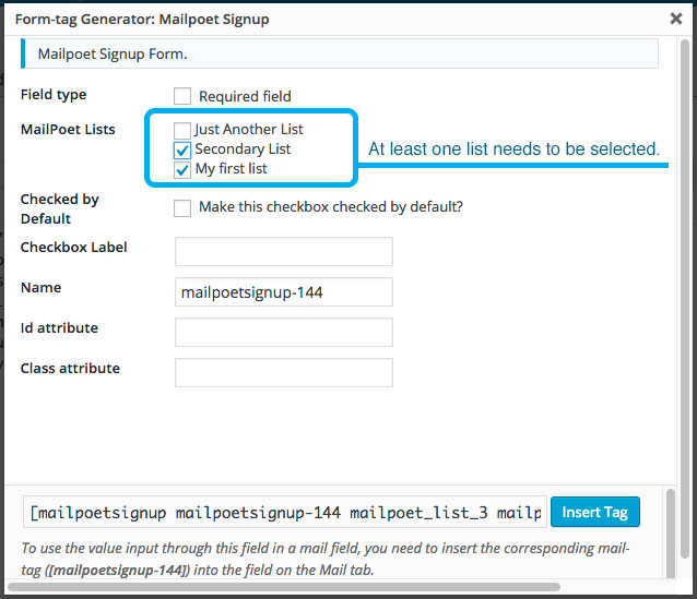 A view of the MailPoet Signup Tag Generator