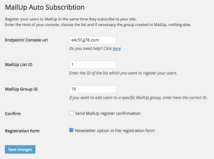 MailUp Auto Subscription - Options page