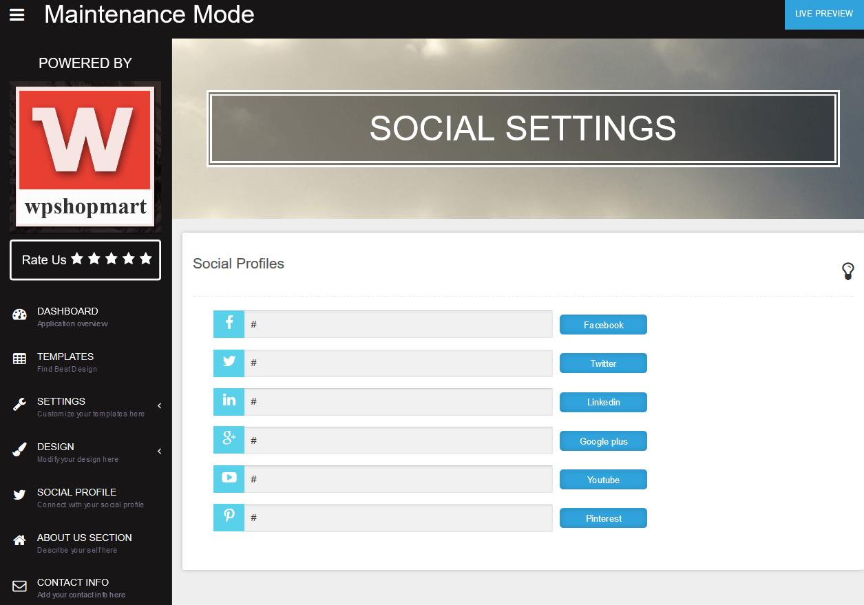 "Social Setting <a href=""http://wpshopmart.com/plugins/coming-soon-pro/"">View More Screenshot Here</a>"