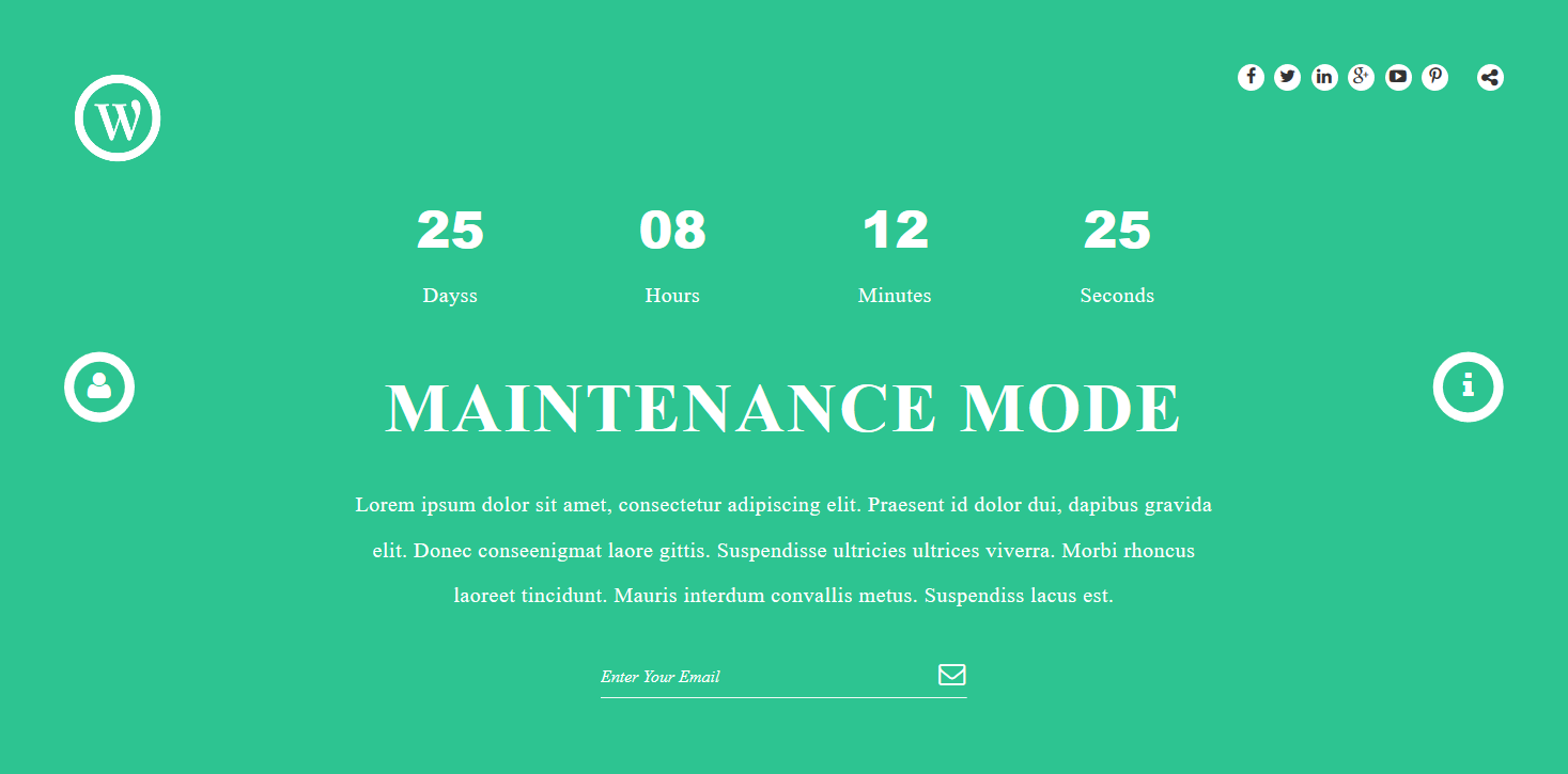 "Maintenance Mode Page With background Color 2 <a href=""http://wpshopmart.com/plugins/coming-soon-pro/"">View More Screenshot Here</a>"