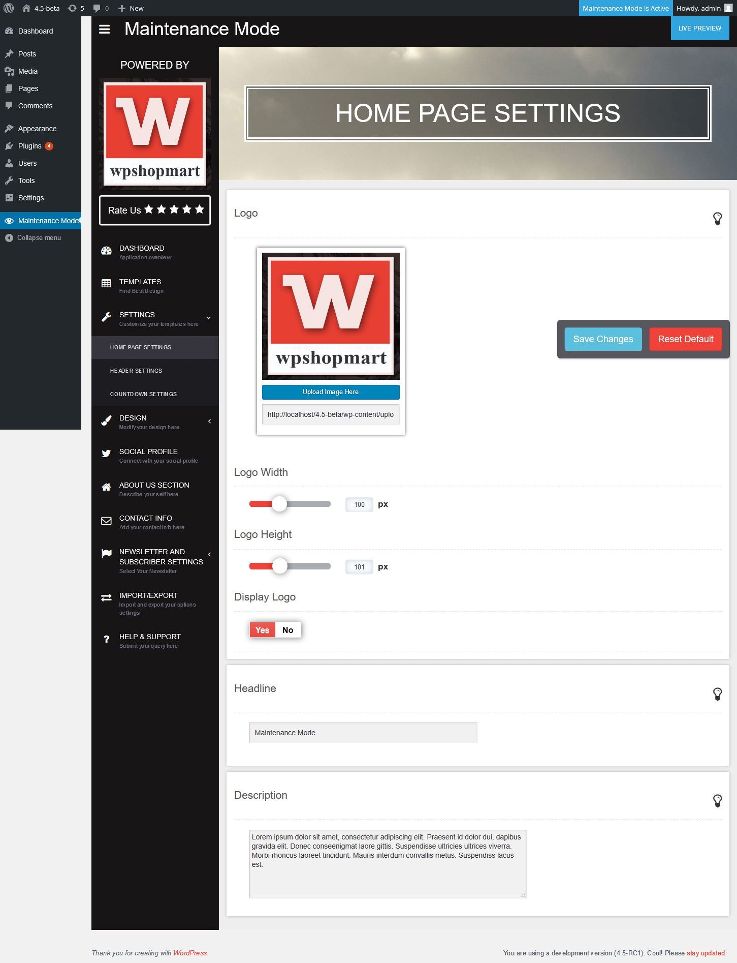 "Home Page Setting <a href=""http://wpshopmart.com/plugins/coming-soon-pro/"">View More Screenshot Here</a>"