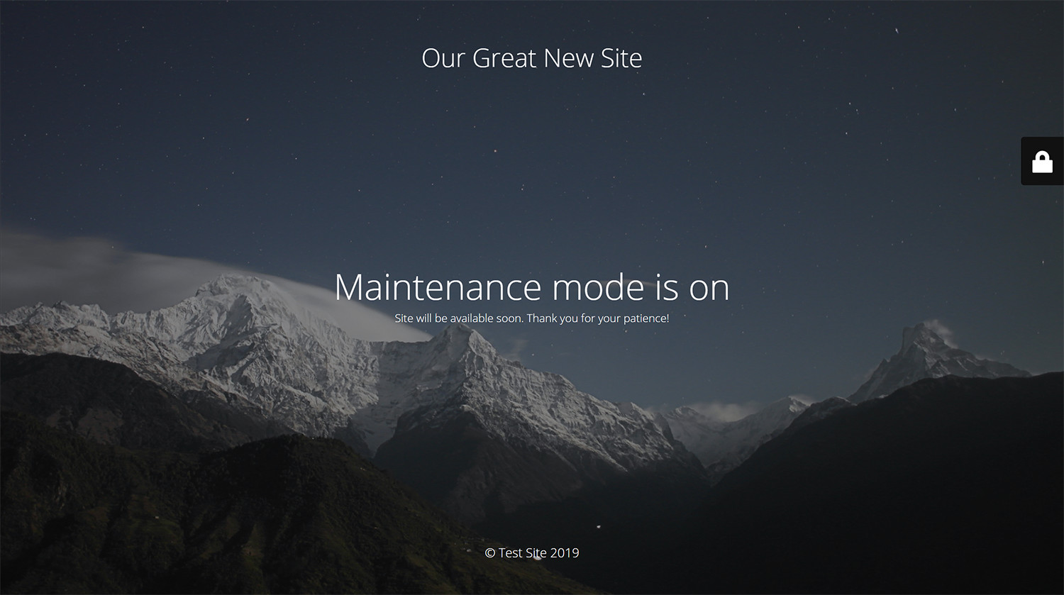 Maintenance page with default design