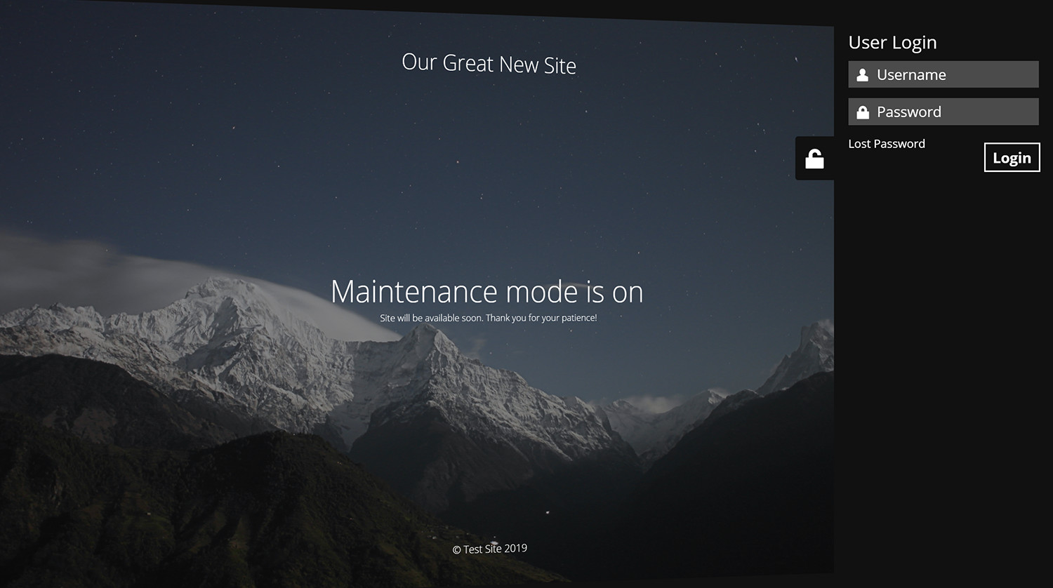 Log in form is built into the maintenance page