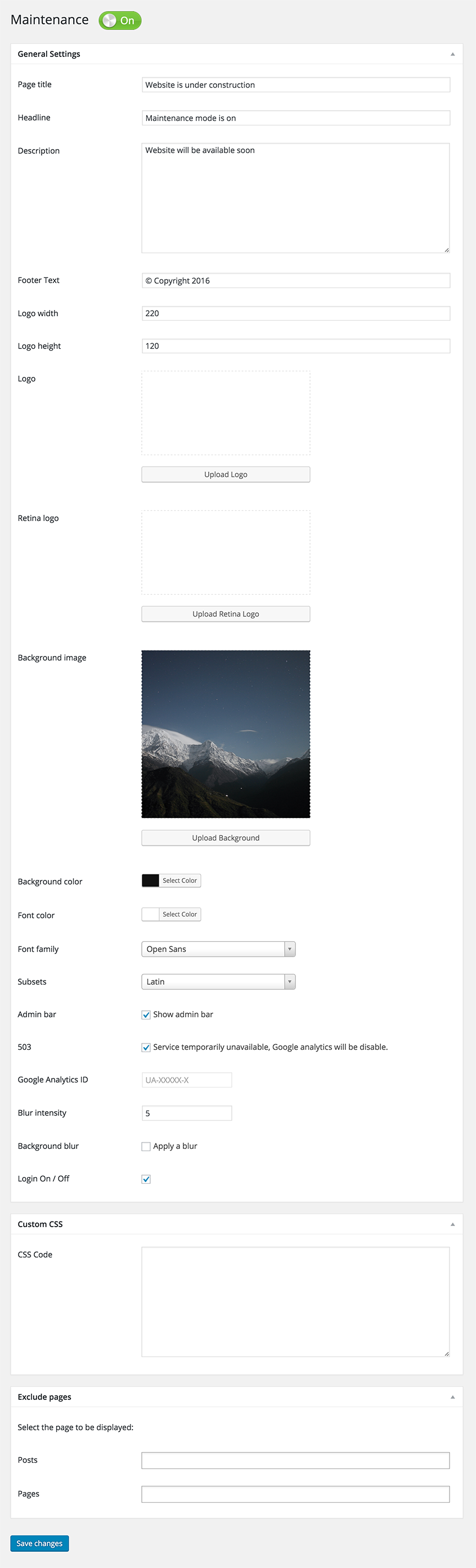 Maintenance plugin options page