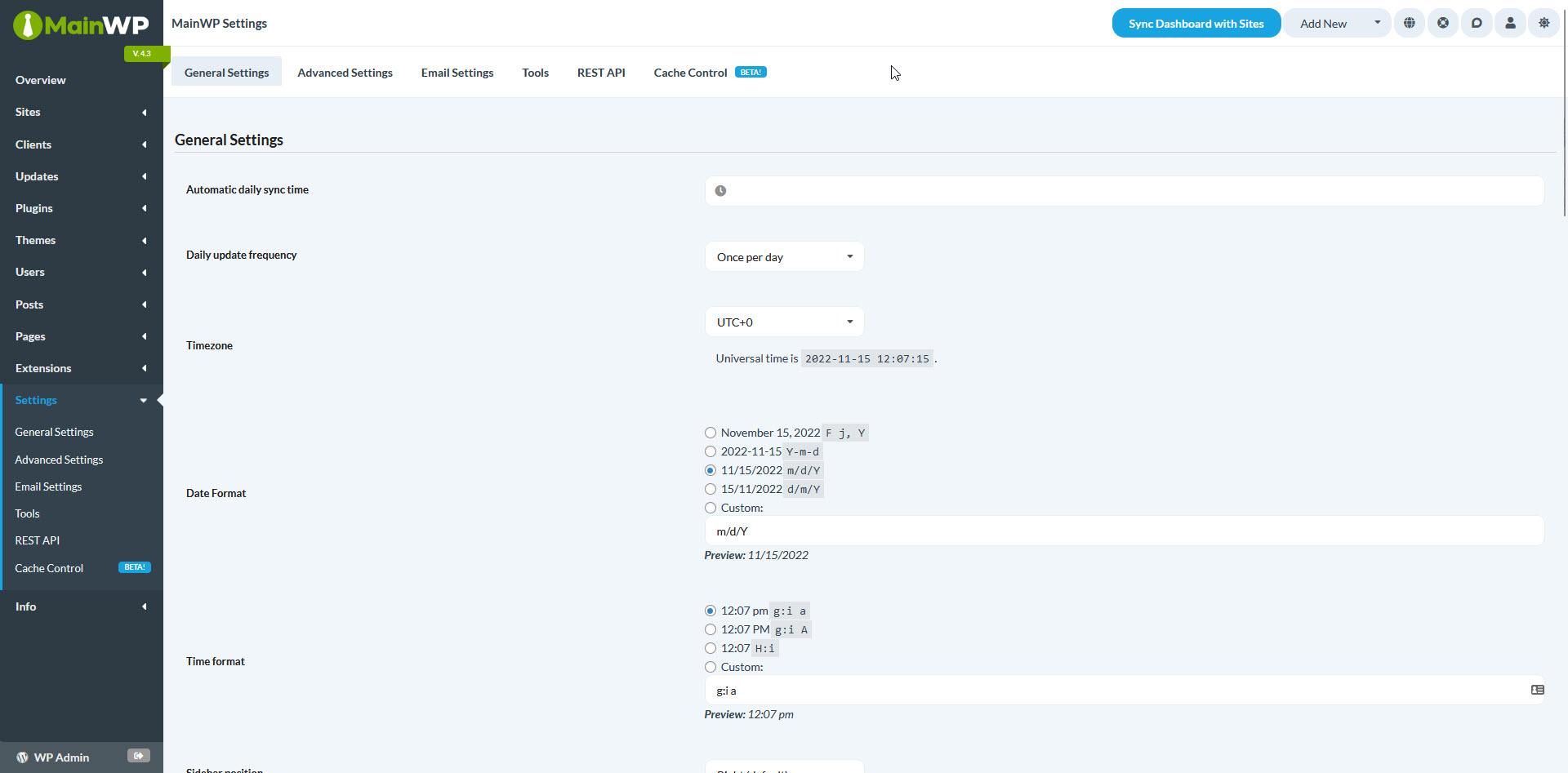MainWP Settings Screen