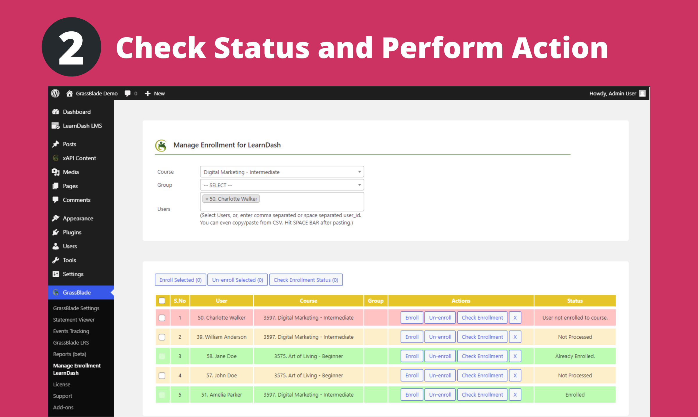 Checking status and perform an action