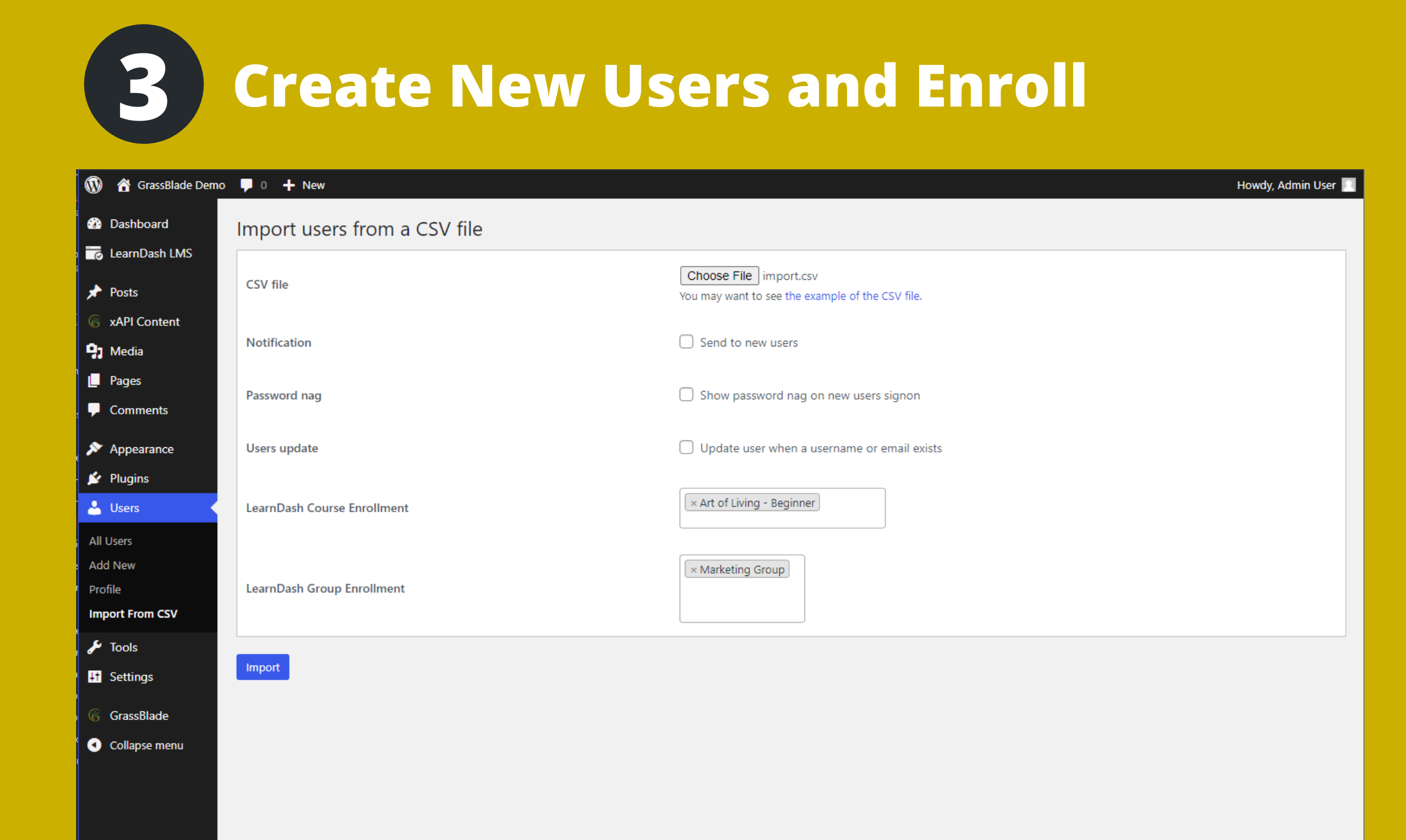 Create New users and enroll